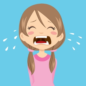 Screaming child in tantrum needing emotion co-regulation